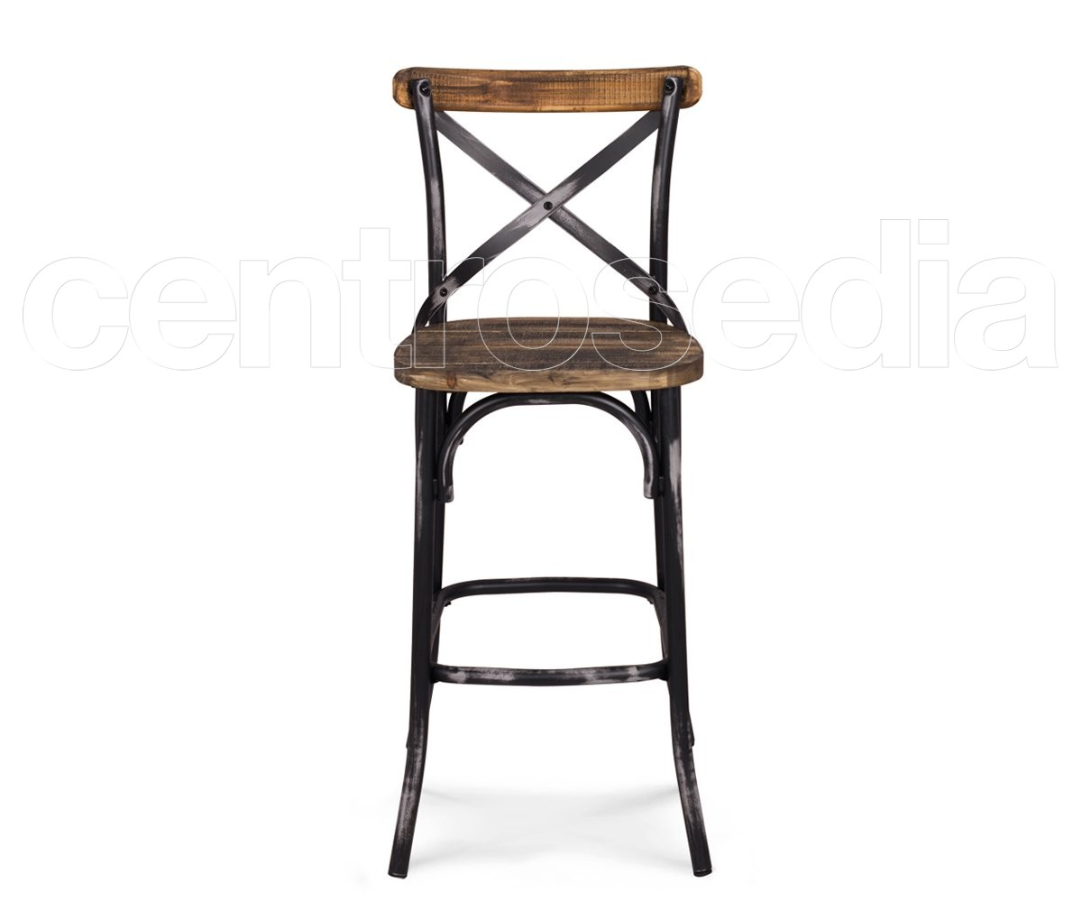 Cross sgabello metallo vintage seduta legno sgabelli bar